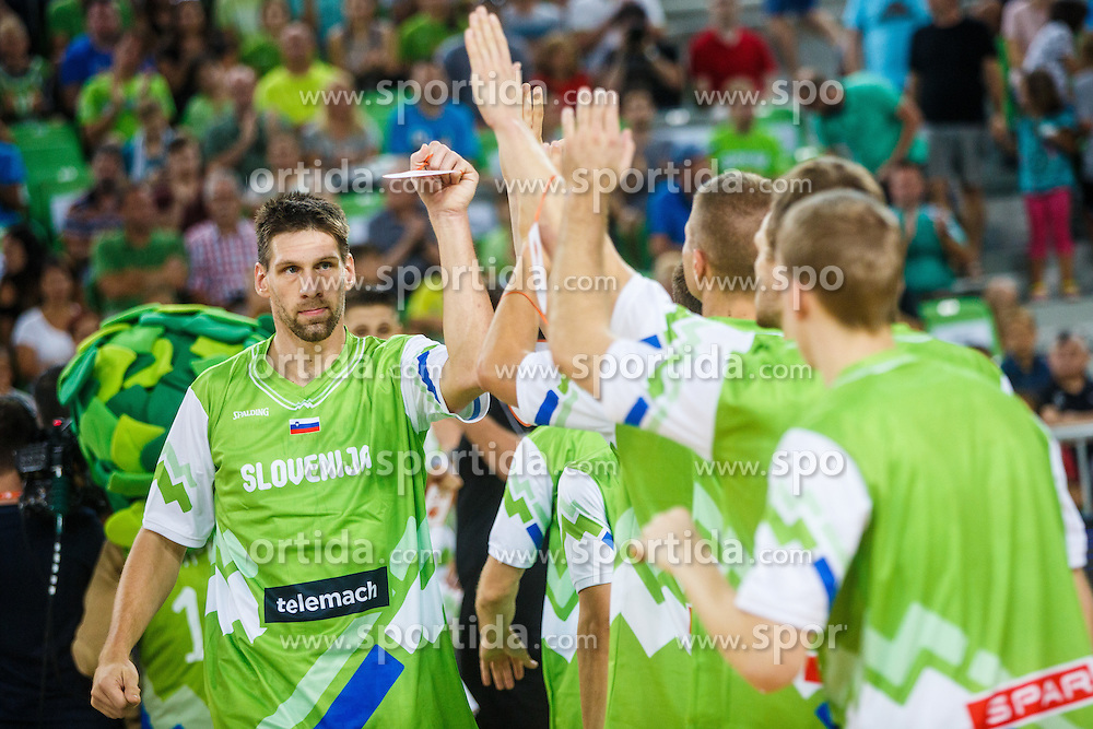 Gasper Vidmar of Slovenia during opening ceremony for qualifying match between Slovenia and Kosovo for European basketball championship 2017,  Arena Stozice, Ljubljana on 31th August, Slovenia. Photo by Grega Valancic / Sportida