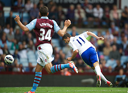 BIRMINGHAM, ENGLAND - Saturday, August 25, 2012: Everton's Kevin Mirallas scores, but his goal is disallowed, against Aston Villa during the Premiership match at Villa Park. (Pic by David Rawcliffe/Propaganda)