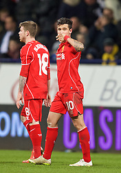 BOLTON, ENGLAND - Wednesday, February 4, 2015: Liverpool's Philippe Coutinho Correia celebrates scoring the winning second goal in injury time against Bolton Wanderers during the FA Cup 4th Round Replay match at the Reebok Stadium. (Pic by David Rawcliffe/Propaganda)
