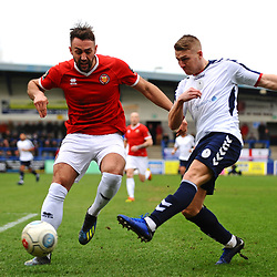 TELFORD COPYRIGHT MIKE SHERIDAN 9/3/2019 - Danny Morton and Darryl Knights of AFC Telford during the National League North fixture between AFC Telford United and FC United of Manchester (FCUM) at the New Bucks Head Stadium