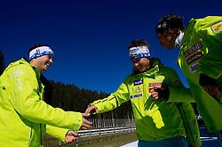 Bostjan Kline plays with Matic Skube and Miha Kuerner during media day of Slovenian Alpine Ski team on October 17, 2011, in Rudno polje, Pokljuka, Slovenia. (Photo by Vid Ponikvar / Sportida)