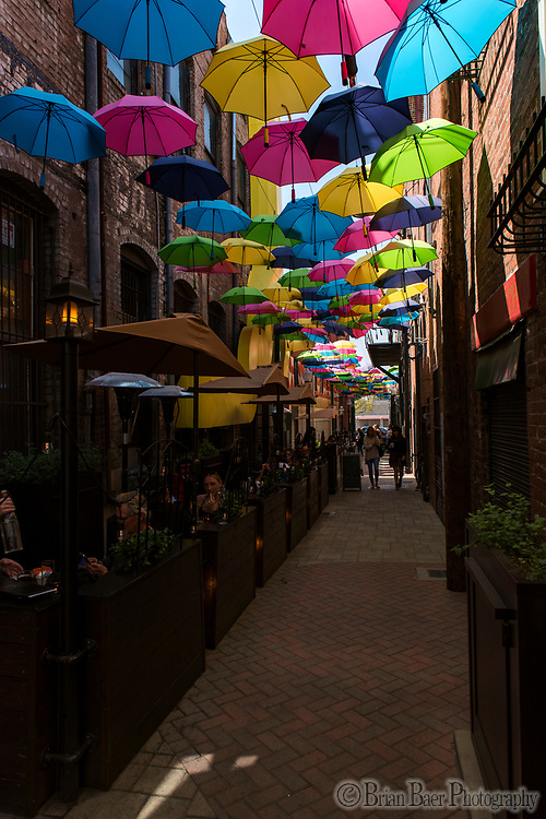 Umbrella art installation in the alley, Redlands CA, Saturday, April 7, 2018.<br /> Photo Brian Baer