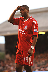Ryan Babel (Liverpool) appears confused at decision to award him a yellow card .Fulham v Liverpool, Barclays Premier League,  Craven Cottage,  London. 4th April 2009.