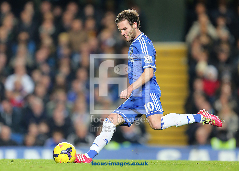 Picture by Richard Calver/Focus Images Ltd +447792 981244<br /> 01/12/2013<br /> Juan Mata of Chelsea strikes the ball during the Barclays Premier League match against Southampton at Stamford Bridge, London.