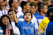 July 18 2009: A USA fan waves a flag during the game between USA and Panama. The United States defeated Panama 2-1 in added extra time in a CONCACAF Gold Cup quarter-final match at Lincoln Financial Field in Philadelphia, Pennsylvania.