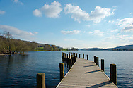 A jetty at Coniston Water, Lake District National Park, Cumbria, UK.