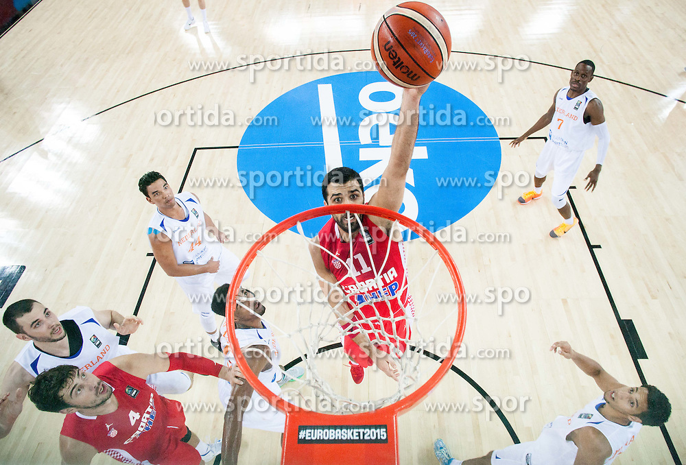 Krunoslav Simon of Croatia during basketball match between Netherlands and Croatia at Day 5 in Group C of FIBA Europe Eurobasket 2015, on September 9, 2015, in Arena Zagreb, Croatia. Photo by Vid Ponikvar / Sportida