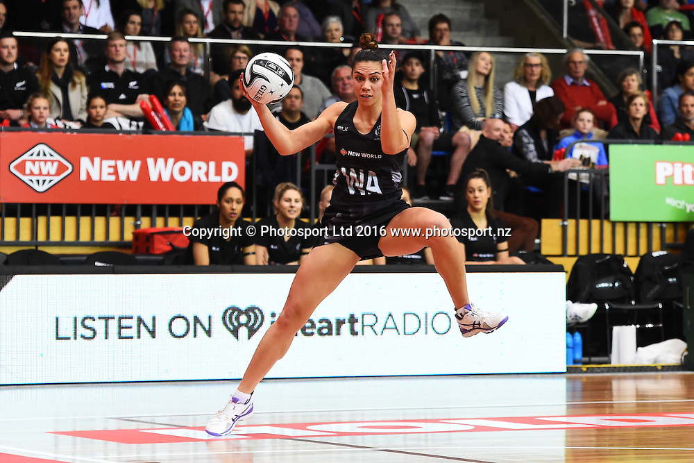Silver Ferns player Grace Rasmussen during the 1st test against the Jamaican Sunshine Girls for the Taini Jamison Trophy. Trafalgar Centre, Nelson, New Zealand. Sunday 11 September 2016. ©Copyright Photo: Chris Symes / www.photosport.nz