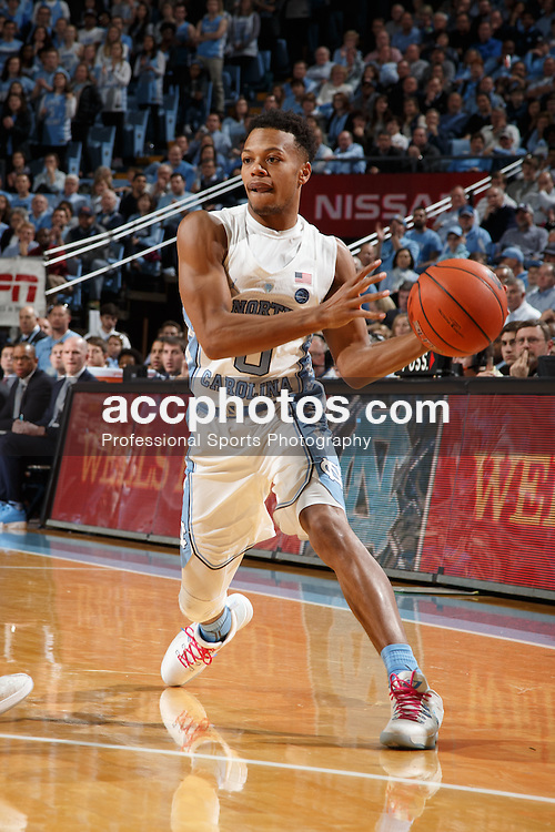 CHAPEL HILL, NC - JANUARY 26: Nate Britt #0 of the North Carolina Tar Heels passes the ball against the Virginia Tech Hokies on January 26, 2017 at the Dean Smith Center in Chapel Hill, North Carolina. North Carolina won 91-72. (Photo by Peyton Williams/UNC/Getty Images) *** Local Caption *** Nate Britt