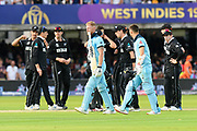 Wicket - Ben Stokes of England is run out to tie the match and to bring up a super over during the ICC Cricket World Cup 2019 Final match between New Zealand and England at Lord's Cricket Ground, St John's Wood, United Kingdom on 14 July 2019.