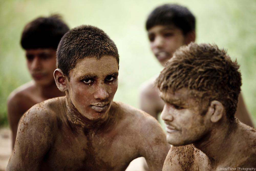 Kushti wrestlers waiting to practice the ancient sport, Varanasi, India