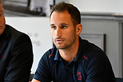 Somerset County Cricket Club Vitality Blast captain Lewis Gregory in the press conference during the 2019 media day at Somerset County Cricket Club at the Cooper Associates County Ground, Taunton, United Kingdom on 2 April 2019.