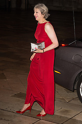 © Licensed to London News Pictures. 14/12/2016. British Prime Minister Theresa May arrives for the annual Lord Mayor's Banquet at Guildhall. London, UK. Photo credit: Ray Tang/LNP