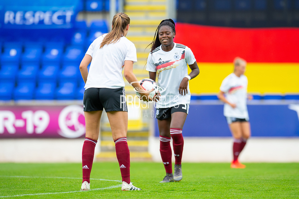 Nicole Anyomi (right) warms up before the UEFA Women's U19 Championship match between England Women and Germany at McDiarmid Stadium, Perth, Scotland on 16 July 2019.