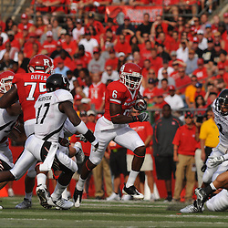 Sep 7, 2009; Piscataway, NJ, USA; Rutgers wide receiver Mohamed Sanu (6) runs after a catch during the first half of Rutgers game against Cincinnati in NCAA college football at Rutgers Stadium.