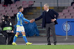 March 7, 2019 - Naples, Naples, Italy - Dries Mertens and Head Coach of SSC Napoli Carlo Ancelotti during the UEFA Europa League match between SSC Napoli and RB Salzburg at Stadio San Paolo Naples Italy on 7 March 2019. (Credit Image: © Franco Romano/NurPhoto via ZUMA Press)