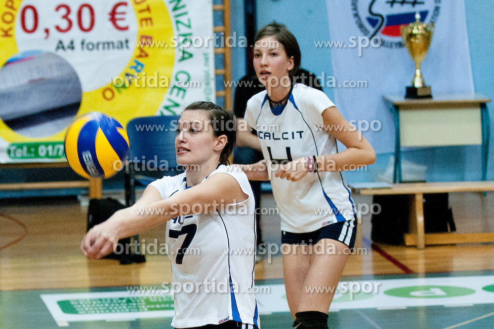 Tea Lenarcic and Katja Kocjan of Calcit Volleyball during volleyball second match in final of playoff between Calcit Volleyball and OK Nova KBM Branik in Slovenian National League on April 13, 2011 at Sportna dvorana, Kamnik, Slovenia. (Photo By Matic Klansek Velej / Sportida.com)