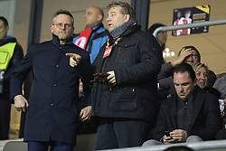 February 14, 2019 - Prague, CZECH REPUBLIC - Genk's chairman Peter Croonen, Genk's general director Eric Gerits and Genk's technical director Dimitri De Conde pictured before the start of a soccer game between Czech club SK Slavia Praha and Belgian team KRC Genk, the first leg of the 1/16 finals (round of 32) in the Europa League competition, Thursday 14 February 2019 in Prague, Czech Republic. BELGA PHOTO YORICK JANSENS (Credit Image: © Yorick Jansens/Belga via ZUMA Press)