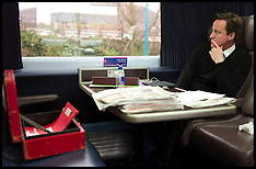 Prime Minister working on the train