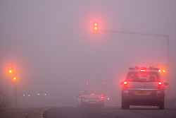 © Licensed to London News Pictures. 20/09/2015. Leeds, UK. Picture shows driving conditions in the fog this morning. The city of Leeds woke this morning to a thick blanket of fog which is expected to clear to a mostly dry clear day..Photo credit: Andrew McCaren/LNP