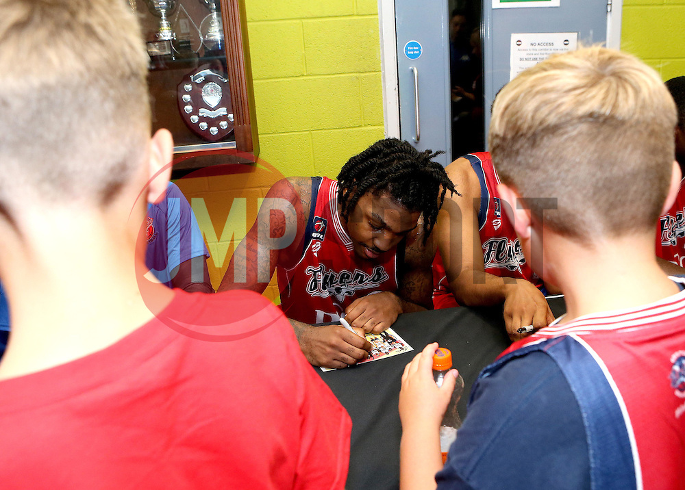 Lovell Cook of Bristol Flyers sign autographs after the match with USA Select - Mandatory by-line: Robbie Stephenson/JMP - 08/09/2016 - BASKETBALL - SGS Arena - Bristol, England - Bristol Flyers v USA Select - Preseason Friendly