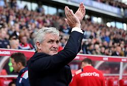Stoke City manager Mark Hughes applauds the fans - Mandatory by-line: Robbie Stephenson/JMP - 15/10/2016 - FOOTBALL - Bet365 Stadium - Stoke-on-Trent, England - Stoke City v Sunderland - Premier League