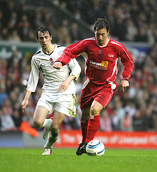 LIVERPOOL, ENGLAND - SUNDAY MARCH 27th 2005: Liverpool Legends' Robbie Fowler and Celebrity XI's Ralf Little during the Tsunami Soccer Aid match at Anfield. (Pic by David Rawcliffe/Propaganda)