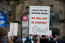 Freedom Riders victory rally, Sheffield Dec 2014. The protest was about threatened cuts to concessionary public transport