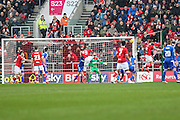 Bristol City's Aden Flint heads home his and his teams 2nd goal of the game during the Sky Bet Championship match between Bristol City and Ipswich Town at Ashton Gate, Bristol, England on 13 February 2016. Photo by Shane Healey.
