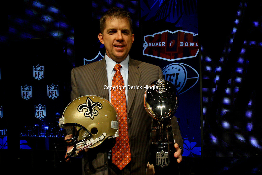 Feb 05, 2010;  Fort Lauderdale, FL, USA; New Orleans Saints head coach Sean Payton poses with the Vince Lombardi Trophy following a press conference at the Super Bowl XLIV media center at the Fort Lauderdale/Broward County Convention Center. Mandatory Credit: Derick E. Hingle