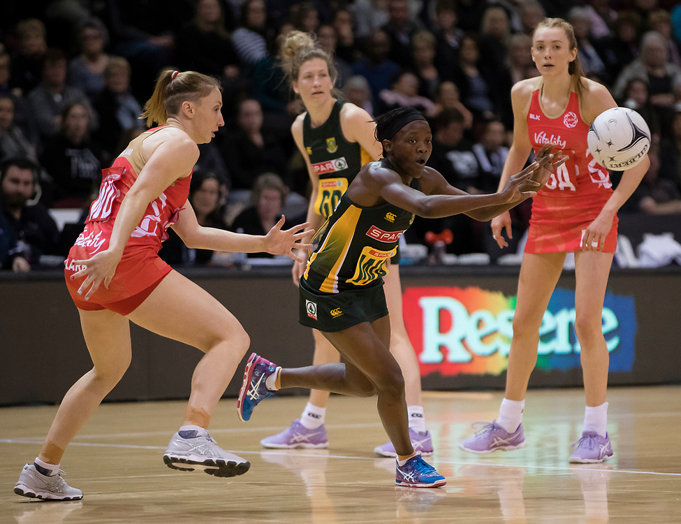 South Africa's Bongiwe Msomi, centre, passes the ball against England in the Netball Quad Series netball match, ILT Stadium Southland, Invercargill, New Zealand, Sept. 3 2017.  Credit:SNPA / Adam Binns ** NO ARCHIVING**