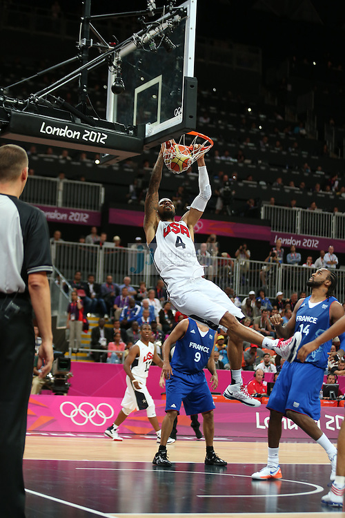 Tyson Chandler of the USA in action against France during Day 2 of the London Olympic Games in London, England, United Kingdom on 29 Jul 2012..(Jed Jacobsohn/for The New York Times)....