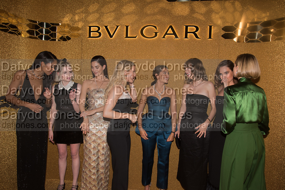 Laura Harrier, Lucy Boynton, Lily Aldridge, Ellie Goulding,   Naomi Scott, Maya Hawke, Lily James . Carey Mulligan , Bulgari Serpenti Seduttori dinner, Roundhouse. London. 15 September 2019