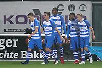 *Terell Ondaan* of PEC Zwolle celebrates 1-0 with *Ryan Thomas* of PEC Zwolle, *Erik Bakker* of PEC Zwolle, *Kingsley Ehizibue* of PEC Zwolle, *Rick Dekker* of PEC Zwolle