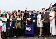 Jockey Victor Espinoza, left, Juan-Carlos Capelli, second right, VP and Head of International Marketing, Longines, and model and actress Kate Upton, right, celebrate with American Pharoah's owners and trainer Bob Baffert, second left, after American Pharoah wins the Breeders' Cup Classic, at Keeneland Racecourse on Saturday, Oct. 31, 2015 in Lexington, KY.  Longines, the Swiss watch manufacturer known for its elegant timepieces, is the Official Watch and Timekeeper of the Breeders' Cup World Championships and the Triple Crown. (Photo by Diane Bondareff/Invsion for Longines/AP Images)