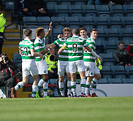 Celtic&rsquo;s Stuart Armstrong is congratulated after heading home his side's second goal - Dundee v Celtic in the Ladbrokes Scottish Premiership at Dens Park, Dundee.Photo: David Young<br /> <br />  - &copy; David Young - www.davidyoungphoto.co.uk - email: davidyoungphoto@gmail.com