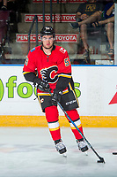 PENTICTON, CANADA - SEPTEMBER 10: Dillon Dube #59 of Calgary Flames warms up against the Vancouver Canucks on September 10, 2017 at the South Okanagan Event Centre in Penticton, British Columbia, Canada.  (Photo by Marissa Baecker/Shoot the Breeze)  *** Local Caption ***