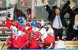 Players of Czech Republic celebrate after scoring fifth goal during Ice Hockey match between Finland and Czech Republic at Quarterfinals of 2015 IIHF World Championship, on May 14, 2015 in O2 Arena, Prague, Czech Republic. Photo by Vid Ponikvar / Sportida