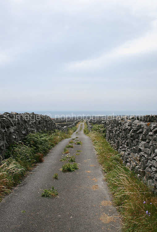 Winding road on Inis Oirr the Aran Islands Galway Ireland