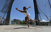 May 24, 2019; Sacramento, CA, USA; CeCe Johnson (720) of Missouri throws in the women's discus during the NCAA West Preliminary at Hornet Stadium.