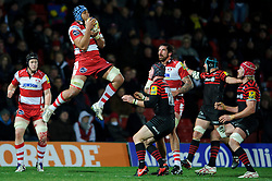 Gloucester Number 8 (#8) Sione Kalamafoni takes a high ball during the second half of the match - Photo mandatory by-line: Rogan Thomson/JMP - Tel: Mobile: 07966 386802 02/12/2012 - SPORT - RUGBY - Vicarage Road - Watford. Saracens v Gloucester Rugby - Aviva Premiership