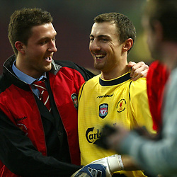CARDIFF, WALES - Sunday, March 2, 2003: Liverpool's man-of-the-match goalkeeper with reserve goalkeeper Patrice Luzi after beating Manchester United 2-0 during the Football League Cup Final at the Millennium Stadium. (Pic by David Rawcliffe/Propaganda)