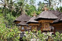 Sacred temple houses at Pura Kebo Edan near ubud, bali, indonesia