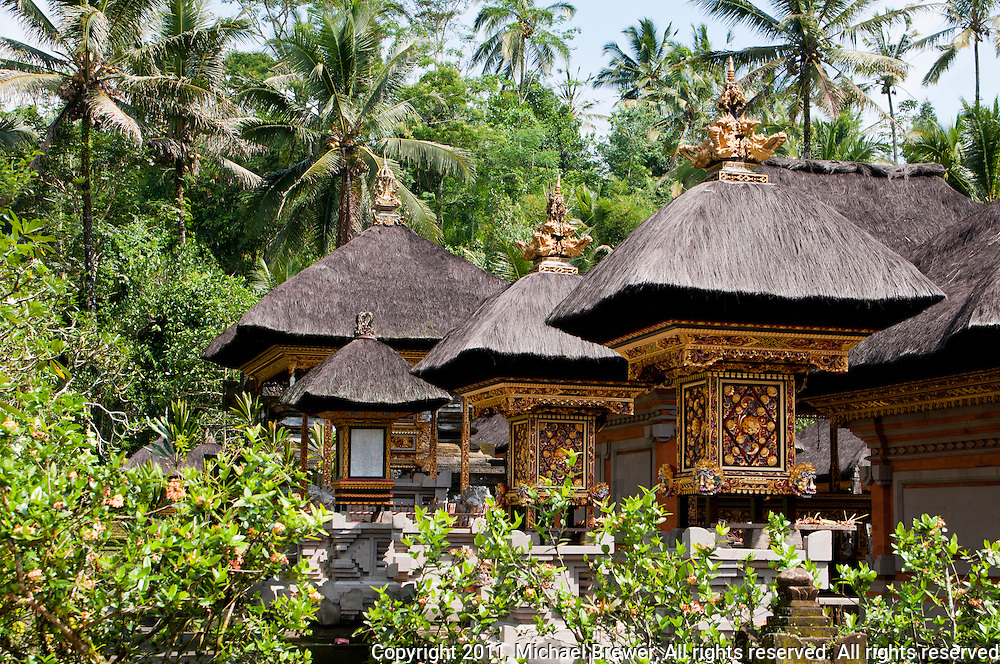 Sacred temple houses at Pura Kebo Edan near ubud, bali, indonesia