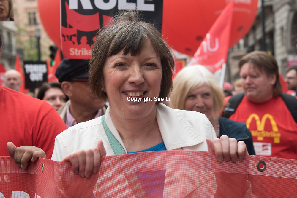 "Frances O'Grady is a General Secretary of the Trades Union Congress join the TUC march in London for ""A new deal for working people"" on 12 May 2018, London, UK."