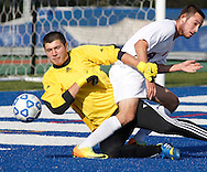 S.S Seward's Devin Wood collides with Webutuck goalie Austin Brown during the Section 9 Class C boys' soccer championship game at Faller Field in Middletown on Wednesday, Oct. 30, 2013.