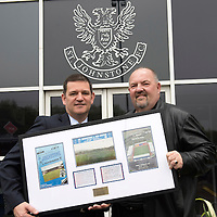 St Johnstone v Motherwell.....19.05.13      SPL<br /> Chairman Steve Brown is presented with a framed Muirton Park momento by Saints Lotto Jackpot Winner Steve Morrison.<br /> Picture by Graeme Hart.<br /> Copyright Perthshire Picture Agency<br /> Tel: 01738 623350  Mobile: 07990 594431