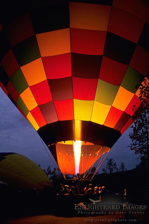 Pre-dawn Hot Air Balloon Launch, Yountville, Napa Valley, Napa County, California