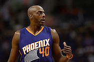 Oct 16, 2014; Phoenix, AZ, USA; Phoenix Suns forward Anthony Tolliver (40) on the court against the San Antonio Spurs half at US Airways Center. Mandatory Credit: Jennifer Stewart-USA TODAY Sports