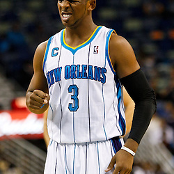December 15, 2010; New Orleans Hornets point guard Chris Paul (3) against the Sacramento Kings during the first half at the New Orleans Arena.  Mandatory Credit: Derick E. Hingle